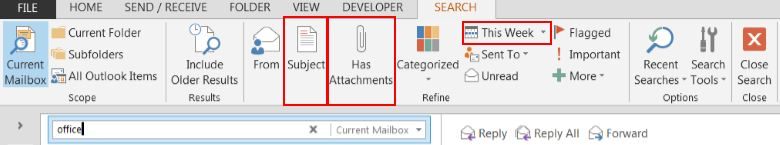 Outlook search box2
